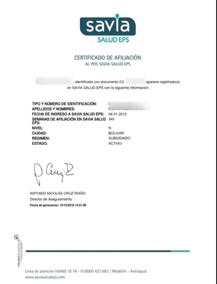 Ejemplo de certificado de Afiliación a Savia Salud EPS - Bolivar